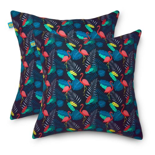 Water-Resistant Accent Pillows, 18 x 18 Inch, 2 Pack, After Party Flamingo