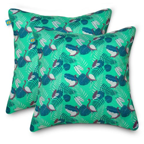 Water-Resistant Accent Pillows, 18 x 18 Inch, 2 Pack, Mojito Flamingo