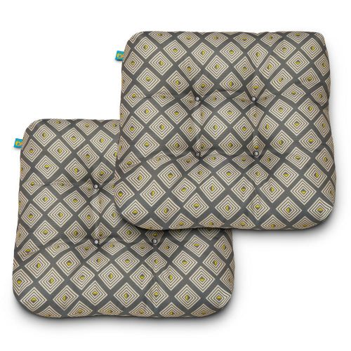 Water-Resistant Indoor/Outdoor Seat Cushions, 19 x 19 x 5 Inch, 2 Pack