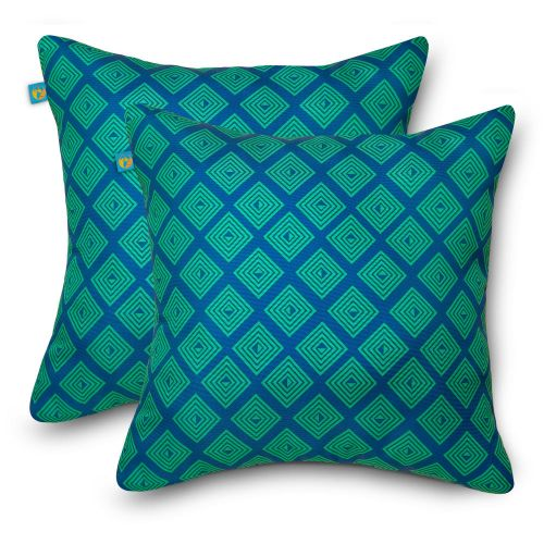 Water-Resistant Accent Pillows, 18 x 18 Inch, 2 Pack, Topaz Mosaic