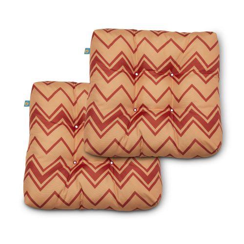 Water-Resistant Indoor/Outdoor Seat Cushions, 19 x 19 x 5 Inch, 2 Pack, Lotta Terra Cotta Chevron