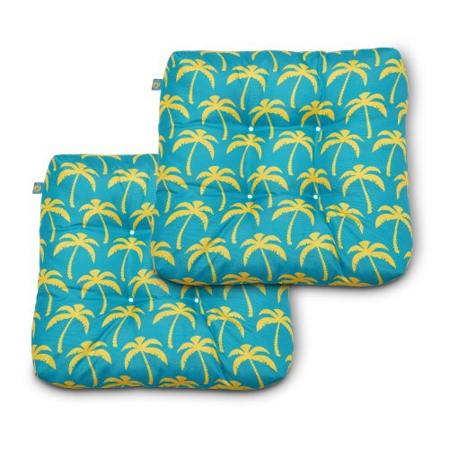 Water-Resistant Indoor/Outdoor Seat Cushions, 19 x 19 x 5 Inch, 2 Pack, Real Teal Palm