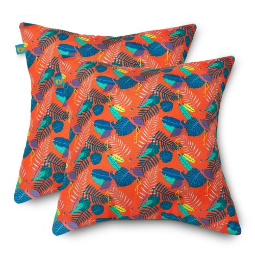 Water-Resistant Accent Pillows, 18 x 18 Inch, 2 Pack, Pool Party Flamingo