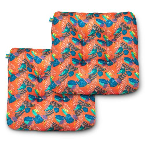 Water-Resistant Indoor/Outdoor Seat Cushions, 19 x 19 x 5 Inch, 2 Pack, Pool Party Flamingo