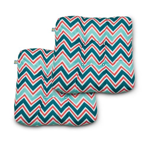 Water-Resistant Indoor/Outdoor Seat Cushions, 19 x 19 x 5 Inch, 2 Pack, Zaggle Teal Chevron