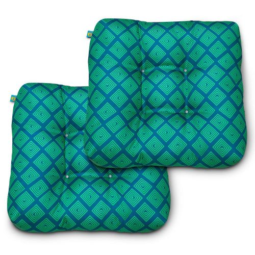 Water-Resistant Indoor/Outdoor Seat Cushions, 19 x 19 x 5 Inch, 2 Pack, Topaz Mosaic
