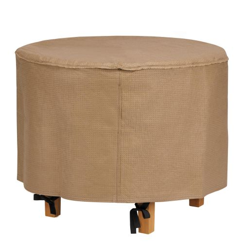 Essential Water-Resistant 31 Inch Round Ottoman/Side Table Cover