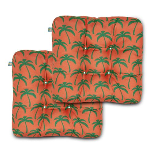 Water-Resistant Indoor/Outdoor Seat Cushions, 19 x 19 x 5 Inch, 2 Pack, Flamingo Palm