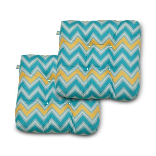 Water-Resistant Indoor/Outdoor Seat Cushions, 19 x 19 x 5 Inch, 2 Pack, Real Teal Chevron