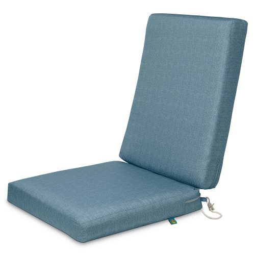 Weekend Water-Resistant Outdoor Dining Chair Cushions, 44 x 20 x 3 Inch, Blue Shadow