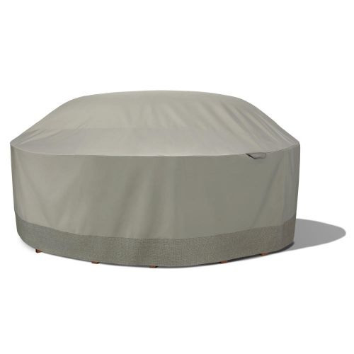 Weekend Water-Resistant Outdoor Round Table & Chair Cover with Integrated Duck Dome, 106 x 32 Inch, Moon Rock