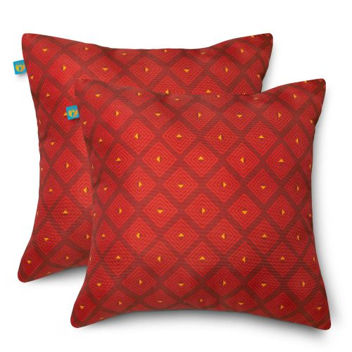 Water-Resistant Accent Pillows, 18 x 18 Inch, 2 Pack, Ruby Mosaic